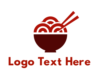 Eat - Red Ramen Noodles logo design