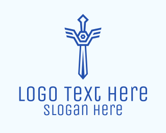 Security - Blue Sword Outline logo design
