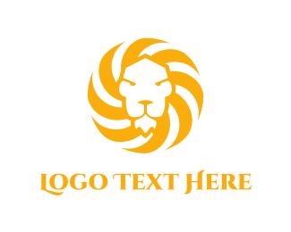 Wild Animal - Sun & Lion  logo design