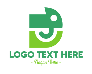 Abstract Green Elephant D Logo