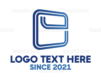 Outlines - Squared Letter E logo design