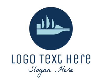 Souvenir - Abstract Blue Bottle Ship logo design
