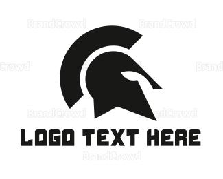 Helmet - Black Spartan Helmet logo design