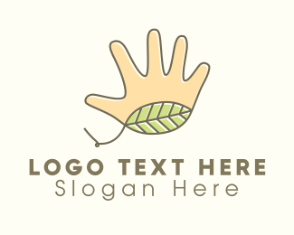Handmade - Handmade Hand Leaf  logo design