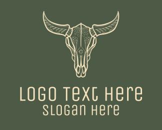 Decorated - White Ornate Bull Skull logo design