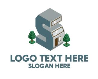House - Modern Building Letter S logo design