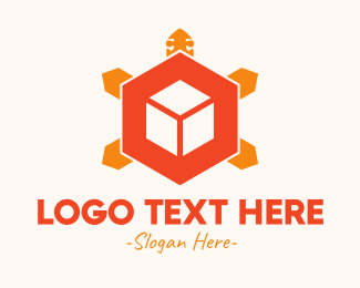 Tortoise - Turtle Tech Cube logo design