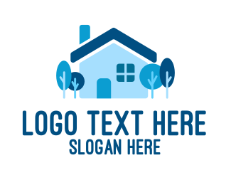 Suburbs - Blue Suburban House  logo design