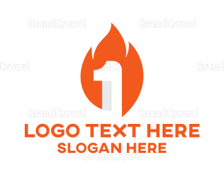 1st - Burning Number 1 logo design