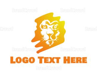Lioness - Yellow Paint Feline logo design