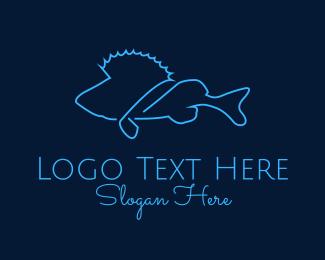 Underwater - Saltwater Fish Monoline logo design