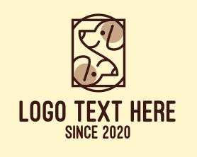 Puppy - Brown Twin Dog logo design