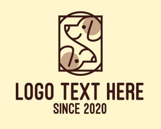 Animal Training - Brown Twin Dog  logo design