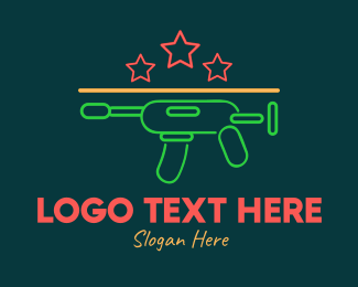 Gun - Colorful Neon Toy Gun Blaster logo design