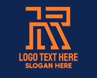 Technical - Modern Orange Letter R logo design