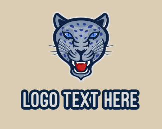 Savannah - Blue Jaguar Mascot logo design