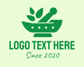 Traditional Medicine - Green Natural Herbal Pharmacy logo design