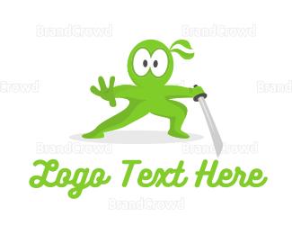 Fighting - Green Ninja Shock logo design