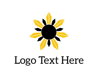 Ecosystem - Black & Yellow Flower logo design