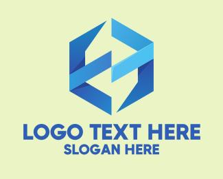 It - Blue Modern Hexagon Business  logo design