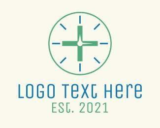 Blood Donation - Medical Cross Clock logo design