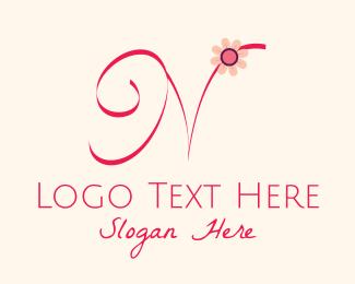Calligraphy - Pink Flower Letter N logo design