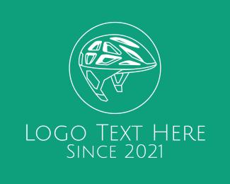 Bike Racing - White Bike Helmet logo design
