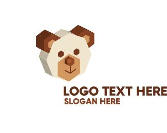 Teddy - 3D Bear Head  logo design