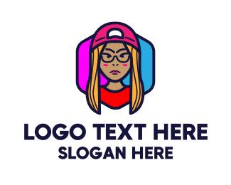 Channel - YouTube Vlogging Gamer Girl logo design