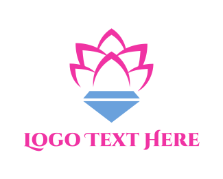 Pink Diamond - Pink Lotus Diamond logo design