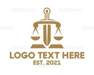 Equilibrium - Bronze Legal Sword logo design