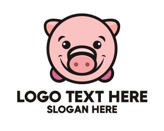 Piggy - Pink Pig logo design