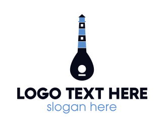 Music - Guitar Light House logo design
