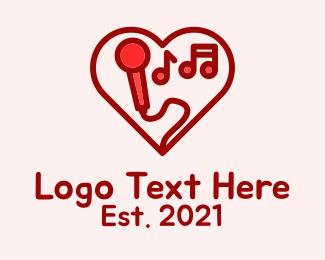 Heart - Red Love Karaoke  logo design