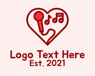 Karaoke Bar - Red Love Karaoke logo design