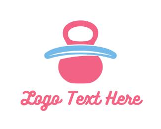 Pediatrician - Pink Baby Pacifier logo design