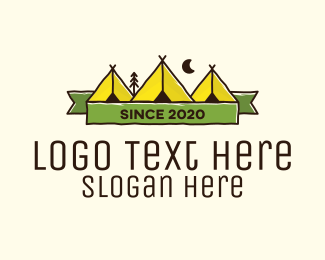 Camping - Outdoor Camping Tepee logo design