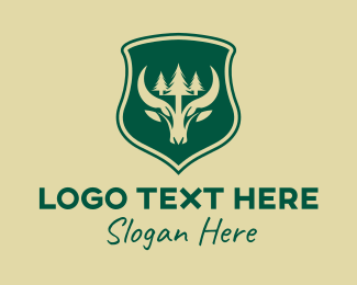Woodland - Green Forest Buffalo Shield logo design