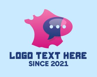 France - France Map Messaging logo design