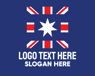 Aussie - Abstract Union Jack Star logo design