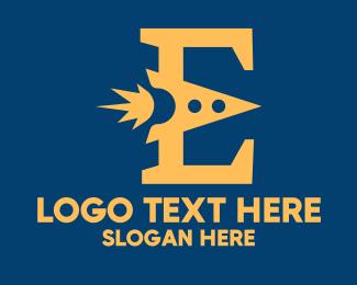 Space Vehicle - Letter E Rocket logo design