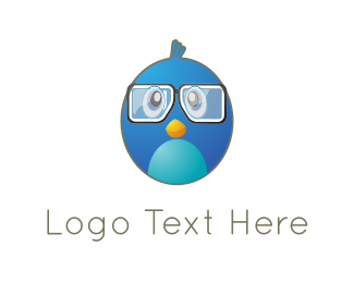 Eyeglasses - Cute Blue Bird logo design