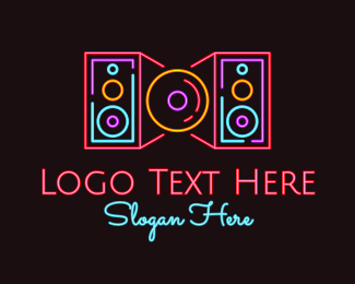 Pop - Neon Speakers Disc logo design