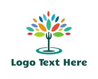 Dish - Organic Fork  logo design