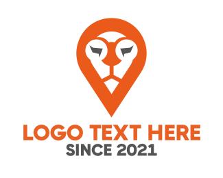 Geolocator - Lion Location Pin logo design