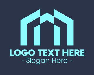 Apartment - Blue Apartment Building logo design