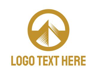 Gold - Gold Circle Mountain logo design