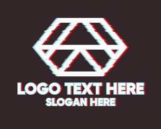 Techno - Geometric Hexagon Glitch logo design