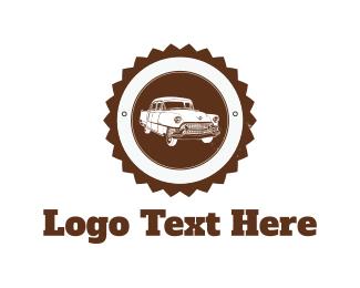 Limousine - White Vintage Car logo design