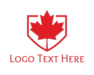 Ontario - Red Canadian Shield logo design